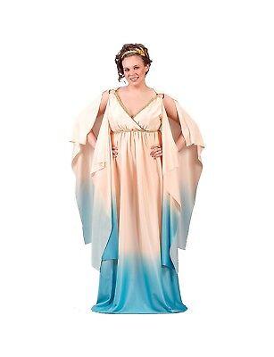 Greek Goddess Look (Goddess Costume Greek / Roman Ladies 2 Tone Gown & Gold Laurel Wreath)