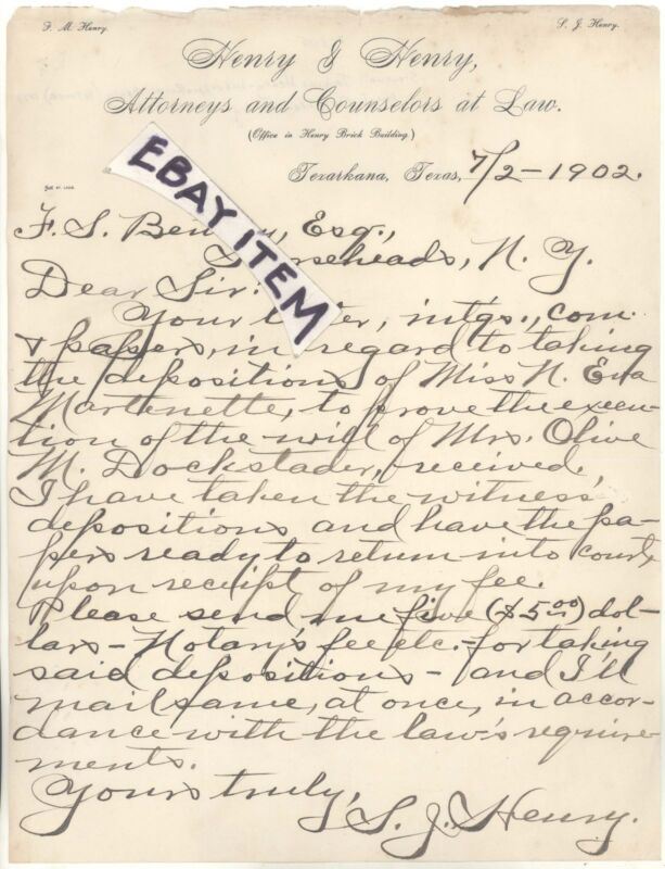 1902 Texarkana Texas FM HENRY & HENRY SJ attorney COUNSELOR lawyer LETTERHEAD TX