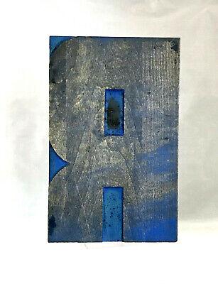 Large Wood Letter R Letterpress Print Type Printers Vintage Printing Patina 8