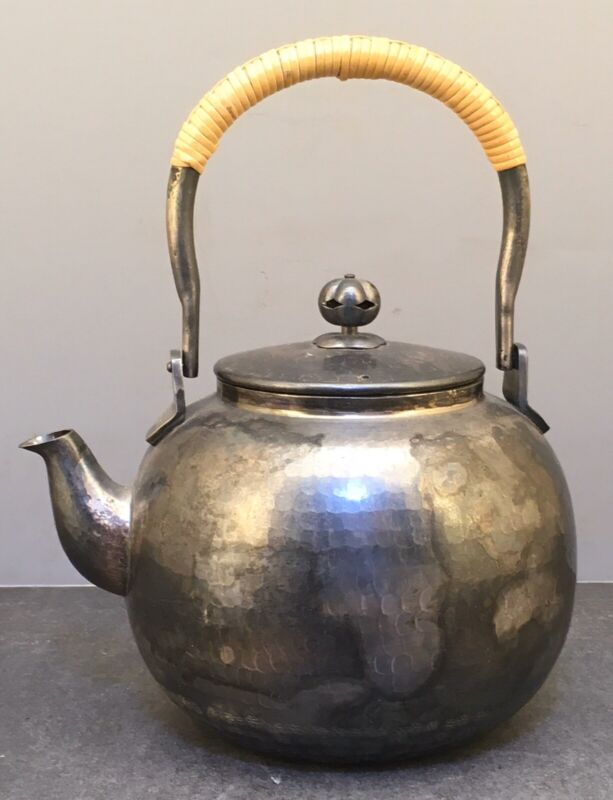 Japanese Taisho Silver Teapot with Bamboo Handle