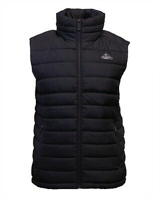 Superdry Mens Padded Sleeveless Bodywarmer Gilet Double Zip Fuji Black