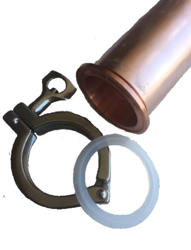 """2"""" Copper Ferrule & Stainless Tri Clamp Keg Still Adapter Kit Fits2"""" Copper Pipe"""