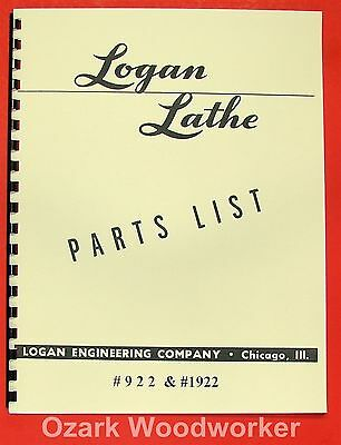 Logan 11 Lathe 922 Manual Parts List 0448