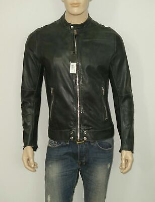 $698 Diesel L-ALL-ROW Jacket in Melange Grey XL SLIM 100% Sheepskin Leather