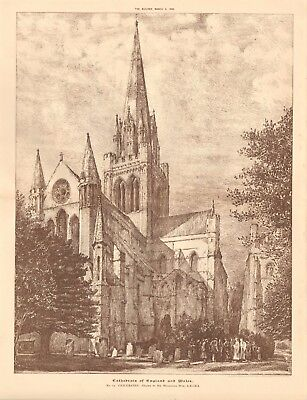 1892 ANTIQUE ARCHITECTURAL PRINT-CATHEDRAL-CHICHESTER