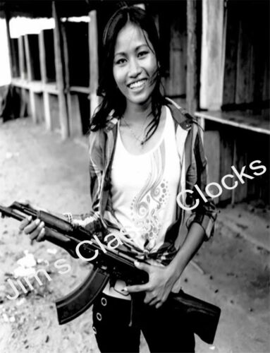 Beautiful Vietcong Girl Soldier with AK-47 Black & White Poster-Vietnam