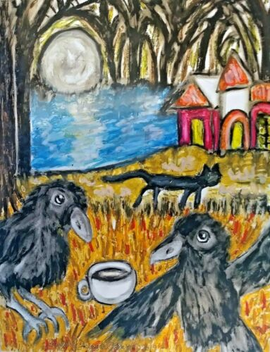 Crow Drinking Coffee Black Cat Haunted House Forest ACEO Art Print Artist KSams