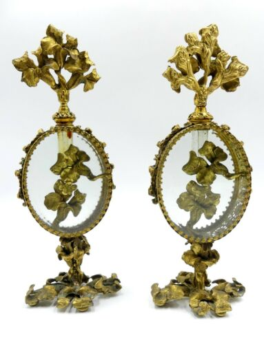 Vintage pair ormolu filigree beveled glass perfume bottles