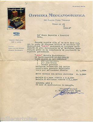ROMA, CARTA INTESTATA OFFICINA MECCANOGRAFICA, MACCHINE DA SCRIVERE, 1932     m