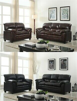 BrandNew Contemporary Pu Leather Sofa & Loveseat Living Room Furniture Couch (Contemporary Living Room Loveseat)