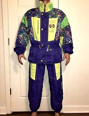 08af862e Vtg 80s Neon ELLESSE Snowsuit Womens LARGE Ski Suit Jacket Coat Snow Bib  Pants L