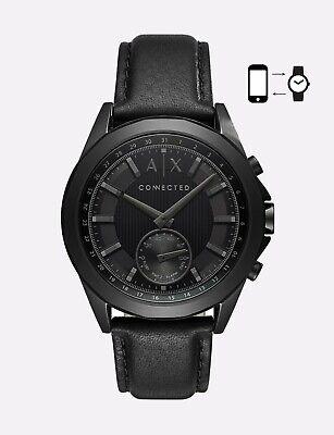 Armani Exchange Men's hybrid smartwatch Leather Watch, black AXT1009