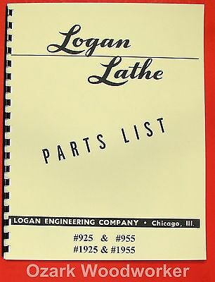Logan 11 Metal Lathe 925 955 Parts List Manual 0449