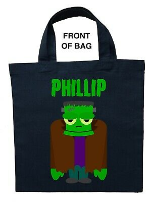 Frankenstein Trick or Treat Bag - Personalized Frankenstein Halloween Loot Bag - Halloween Trick Or Treat Bags Crafts