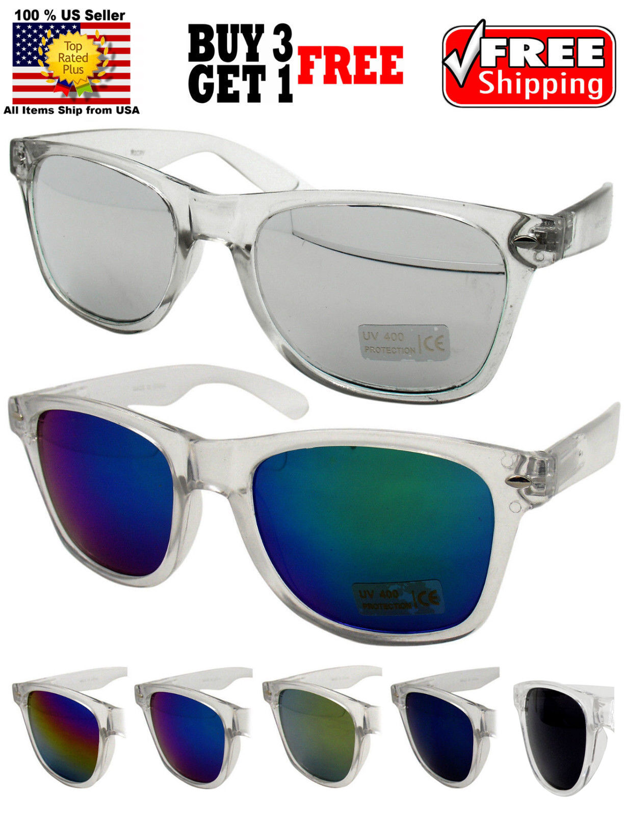 CLEAR FRAME CLASSIC RETRO VINTAGE DESIGNER RV MIRROR LENS SUNGLASSES SHADES Clothing, Shoes & Accessories