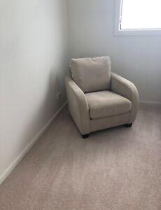 1x 1 seater beige armchair & 1 x 3 seater dark grey couch