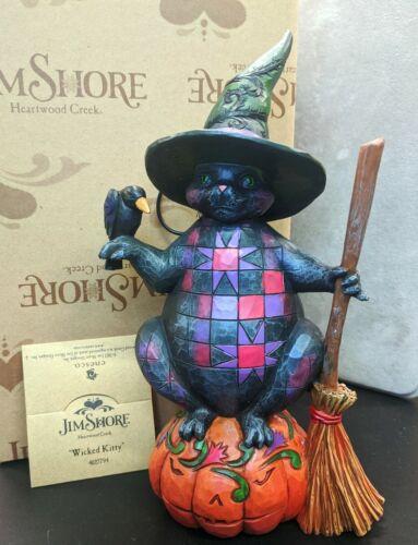 "RARE 2012 Jim Shore Halloween Cat & Pumpkin ""Wicked Kitty"" - 4027794 New in Box"
