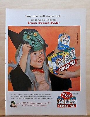 1958 magazine ad for Post Cereals Treat-Pak - girl in witch costume, Halloween](Original Girl Costumes For Halloween)