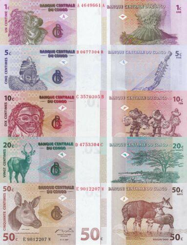 Congo DR 5 Note Set: 1 to 50 Centimes (01.11.1997) - p80/p81/p82/p83/p84A UNC