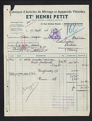 """BORDEAUX (33) APPAREILS VITICOLES & ARTICLES MENAGER """"HENRI PETIT"""" en 1938"""
