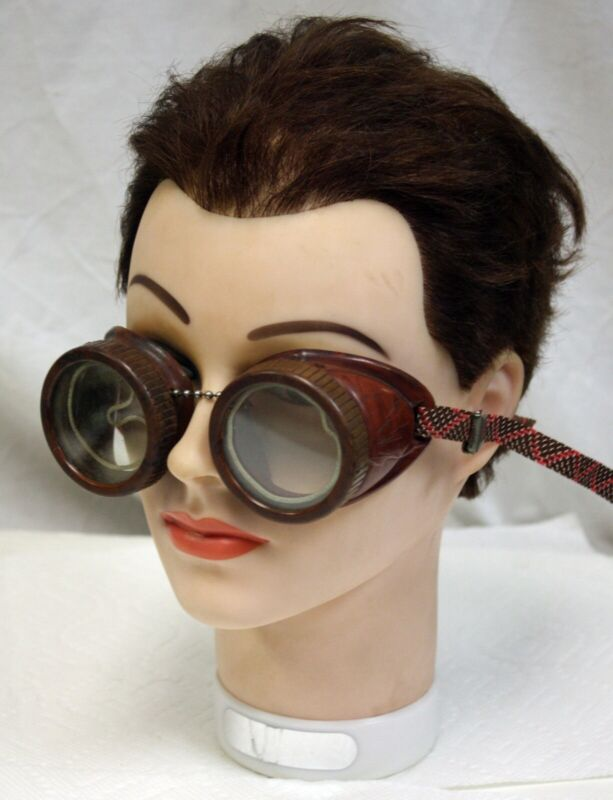 Vintage Deco Sellstrom Welding Goggles, Catalin? Steampunk Motorcycle Aviator