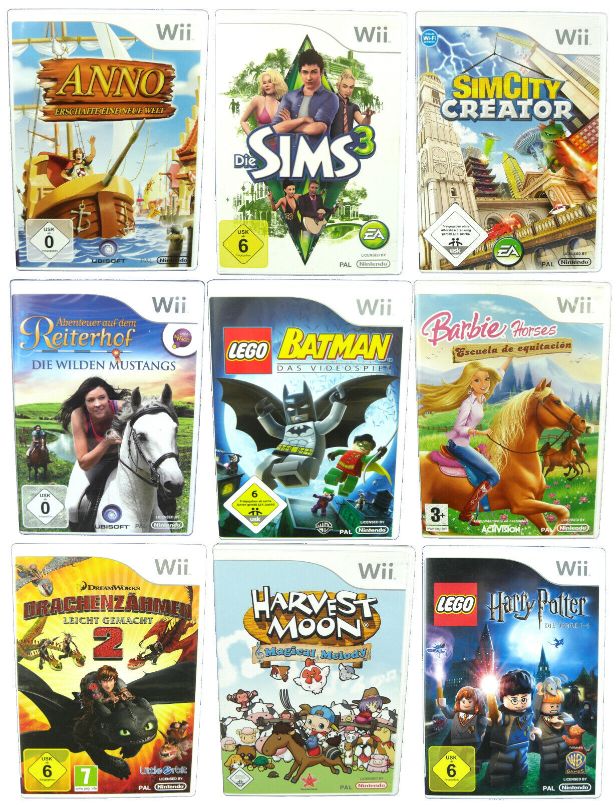 Kinderspiele für Nintendo Wii: z.B. Sonic LEGO Barbie Disney ANNO SIMS MARVEL