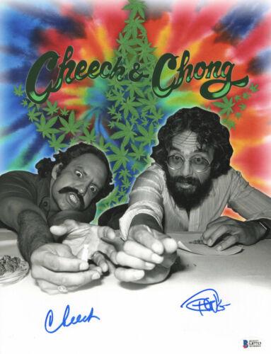 CHEECH AND CHONG SIGNED AUTO 11X14 PHOTO 'UP IN SMOKE' BAS BECKETT COA 371