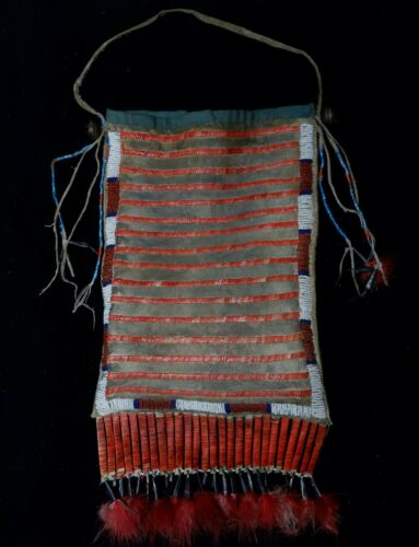 Antique Native American Sioux Lakota Quilled Bag