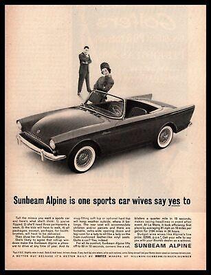 1962 Sunbeam Alpine Series II Convertible Roadster $2595 Vintage Rootes Print Ad