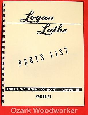 Logan 9 Metal Lathe 9b28-61 Parts List Manual 0461