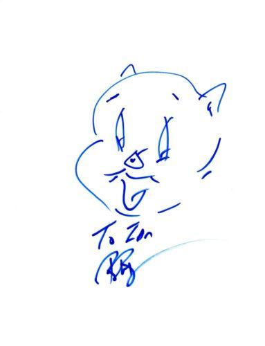 Bob Bergen Signed Autographed Hand Drawn Sketch Porky Pig Looney Tunes COA