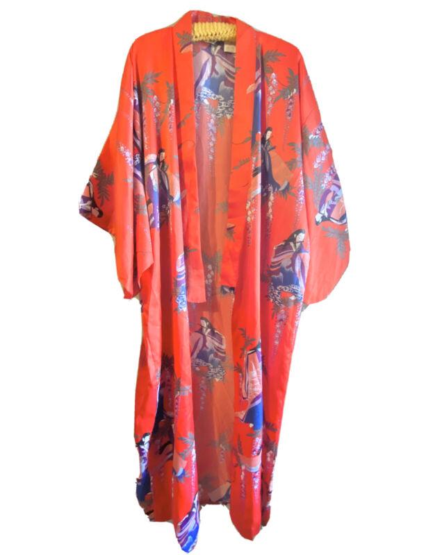 Vintage Juguemm Japanese Kimono Women Size 56 ART K10 Geisha Red 100% Polyester