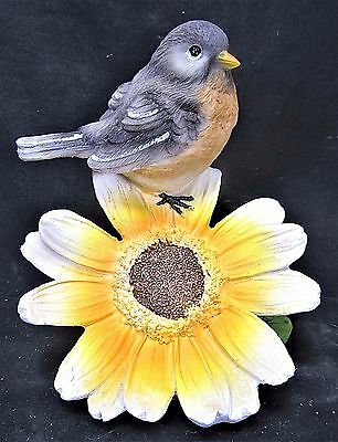Yellow breasted Bird on yellow/white Flower decorative figurine (C)