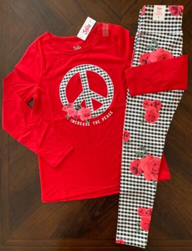 NWT Justice Girls Floral Peace LS Tee & Matching Leggings Outfit / Set! Size 8!