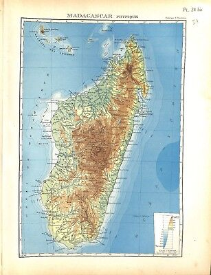 Colonial Empire French Madagascar Physical Antananarivo Card Atlas 1937