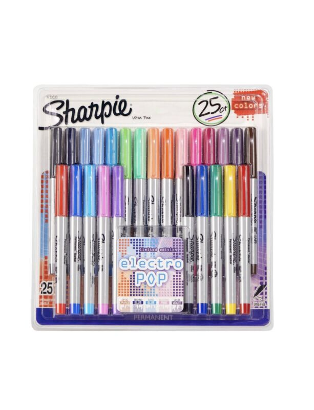 Sharpie Electro Pop Permanent Markers Ultra Fine 25 count Limited Edition