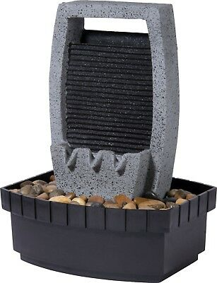 Design-Zimmerbrunnen mit LED-Licht Wasserspiel Tischbrunnen inkl. Pumpe grau