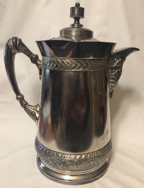 Antique Meriden Britannia Co. Silver Plated Porcelain Insert Water Pitcher