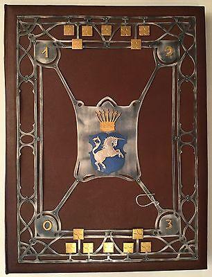 Große Dokumentenmappe FREIHERR VON WALDENFELS, Wappen, Koffer, Samtbezug, 1903!