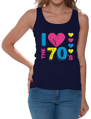 Women's I Love The 70's Tank Tops for Women 70s Party 1970s Lovers - 1970s Clothing For Women
