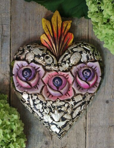 Handmade Sacred Heart Roses & Milagros Wood Folk Art Michoacán Mexico Love Token