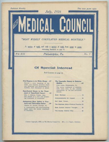 July 1916 Philadelphia Medical Council Journal Medicine Doctors Trade Magazine