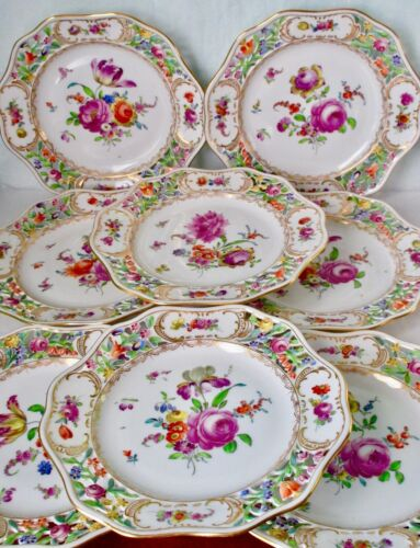 Royal Vienna Antique Set of Eight Hand Painted Reticulated Plates