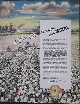 1943 Shell Research Corporation Cotton Tougher Than Metal Original Print Ad