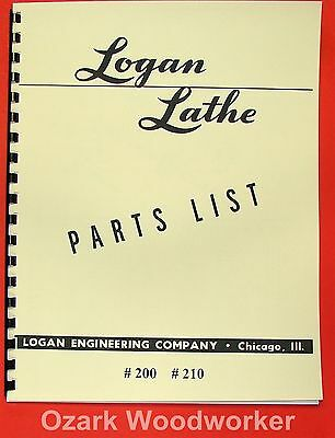 Logan 10 Lathe 200 210 Parts Manual 0446
