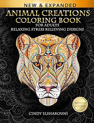 Animal Creations Coloring Book Adults Relaxing Stress Relieving Designs