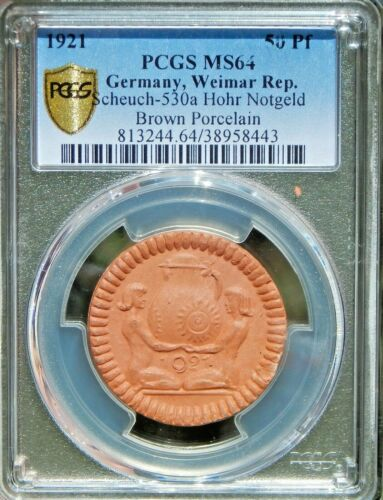 RARE Porcelain Weimar Germany 1921 50 Pf PCGS MS64 Horh Colbenz Notgeld Coin!