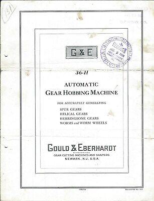 Machine Tool Brochure - Gould Eberhardt 36-h Auto Gear Hobbing Machine Tl125