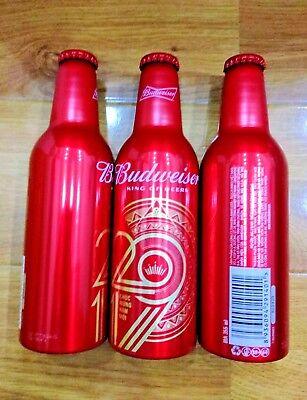 3 New Year 2019 Budweiser Vietnam, empty aluminium bottle 355 ml + cap