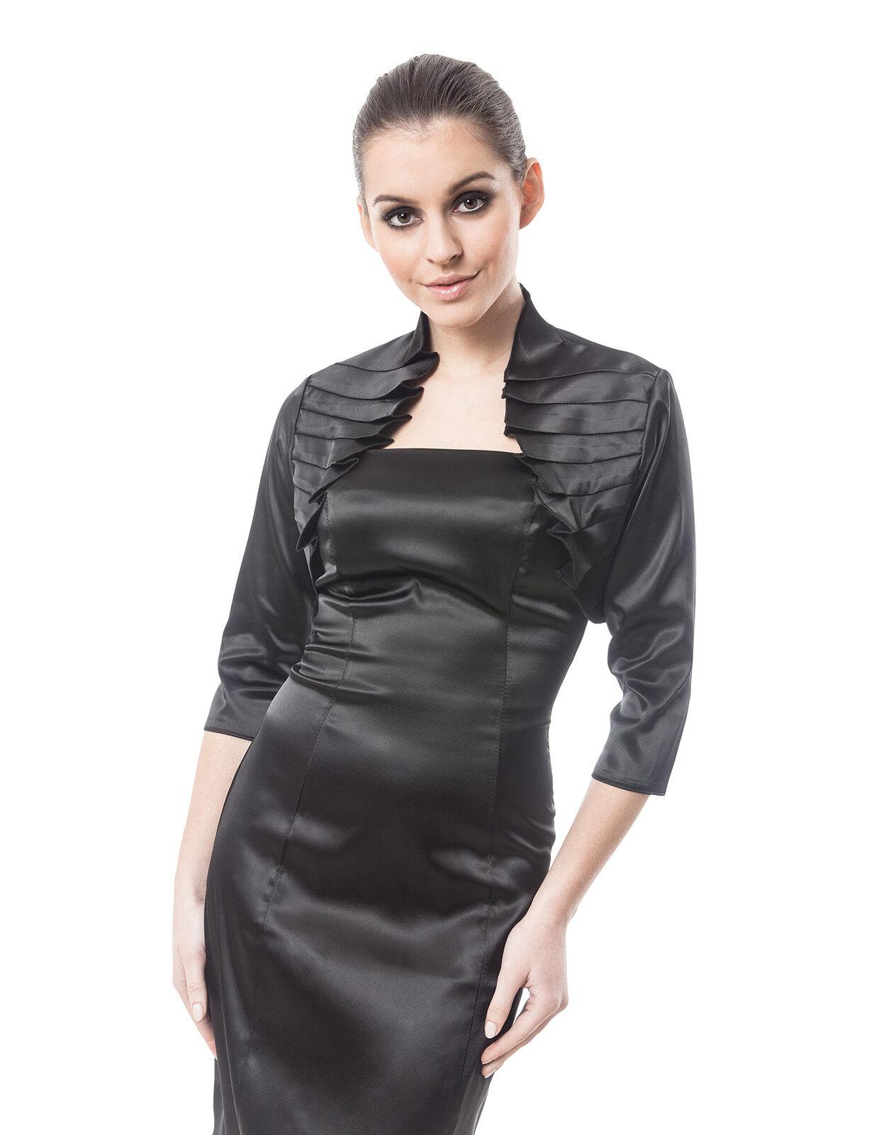 Women Wedding Satin Bolero Shrug Jacket Stole 3//4 Length Sleeve UK Size S//M//L//XL